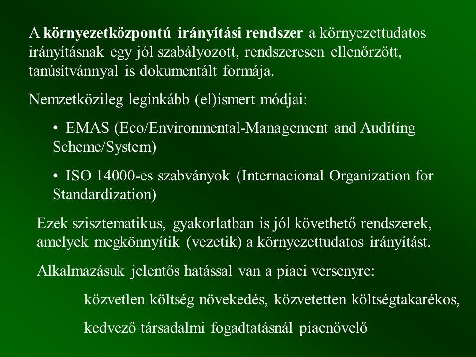 A környezetközpontú irányítási rendszer a környezettudatos irányításnak egy jól szabályozott, rendszeresen ellenőrzött, tanúsítvánnyal is dokumentált formája.