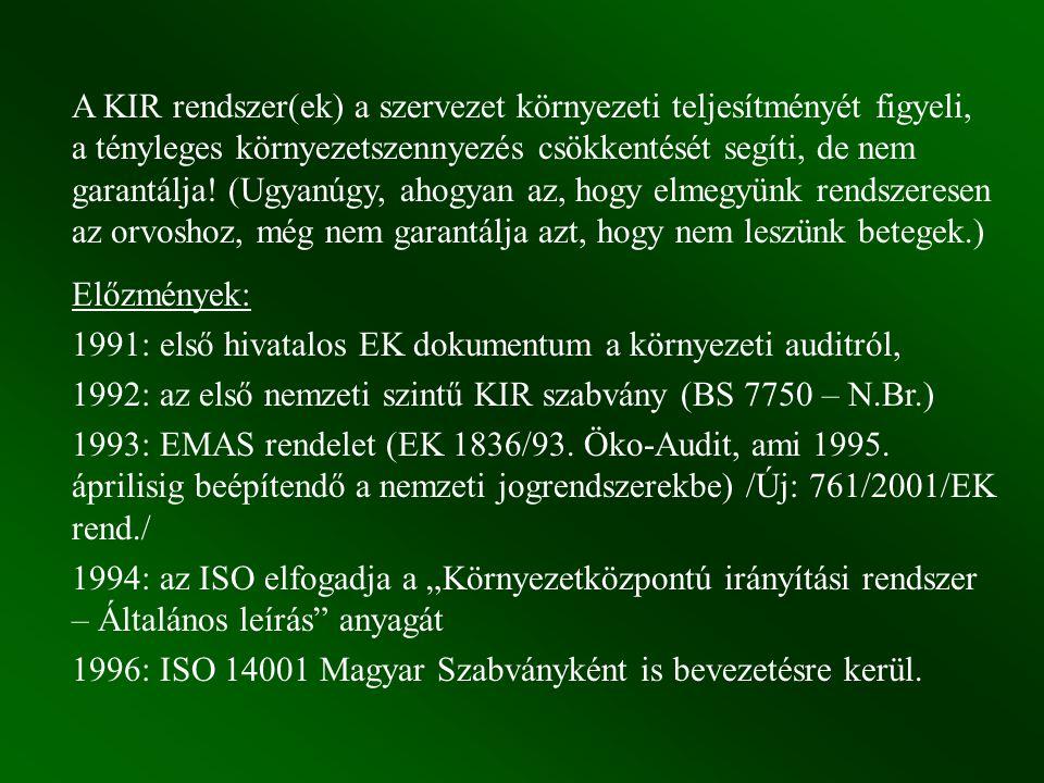 ISO 14000-s szabványok: 14001-14004 Környezetközpontú Irányítási Rendszerek 14010 Környezeti auditálás és egyéb kapcsolódó környezeti vizsgálatok (helyette napjainkban: ISO 19010) 14020-14024 Környezeti címkézés 14031-14032 Környezeti teljesítményértékelés 14040-14043 Életciklus elemzés 14040 Környezeti tényezők a termékszabványokban 14050 Fogalmak és definíciók ISO 9000-es szabványok a minőségbiztosításról (1986-1990) Az ISO 9000-es sorozat valamelyik tagjának alkalmazása arról biztosítja a vevőt, hogy a szerződéses követelményeknek való megfelelést a szállító szabályozottan, dokumentáltan, és ellenőrzötten működtetett minőségügyi rendszerrel éri el.