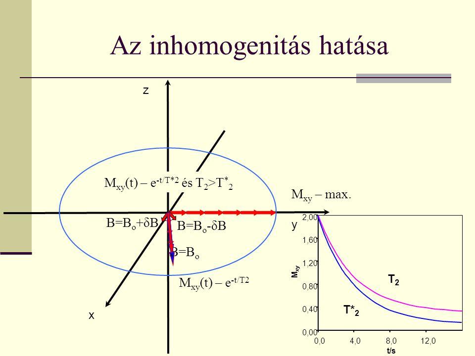 0,00 0,40 0,80 1,20 1,60 2,00 0,04,08,012,0 t/s T2T2 T* 2 M xy Az inhomogenitás hatása x y z M xy – max. M xy (t) – e -t/T2 B=B o B=B o +δB B=B o -δB