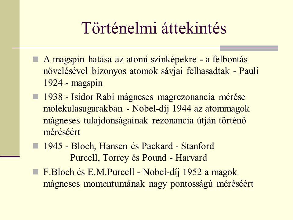 Történelmi áttekintés A magspin hatása az atomi színképekre - a felbontás növelésével bizonyos atomok sávjai felhasadtak - Pauli 1924 - magspin 1938 -