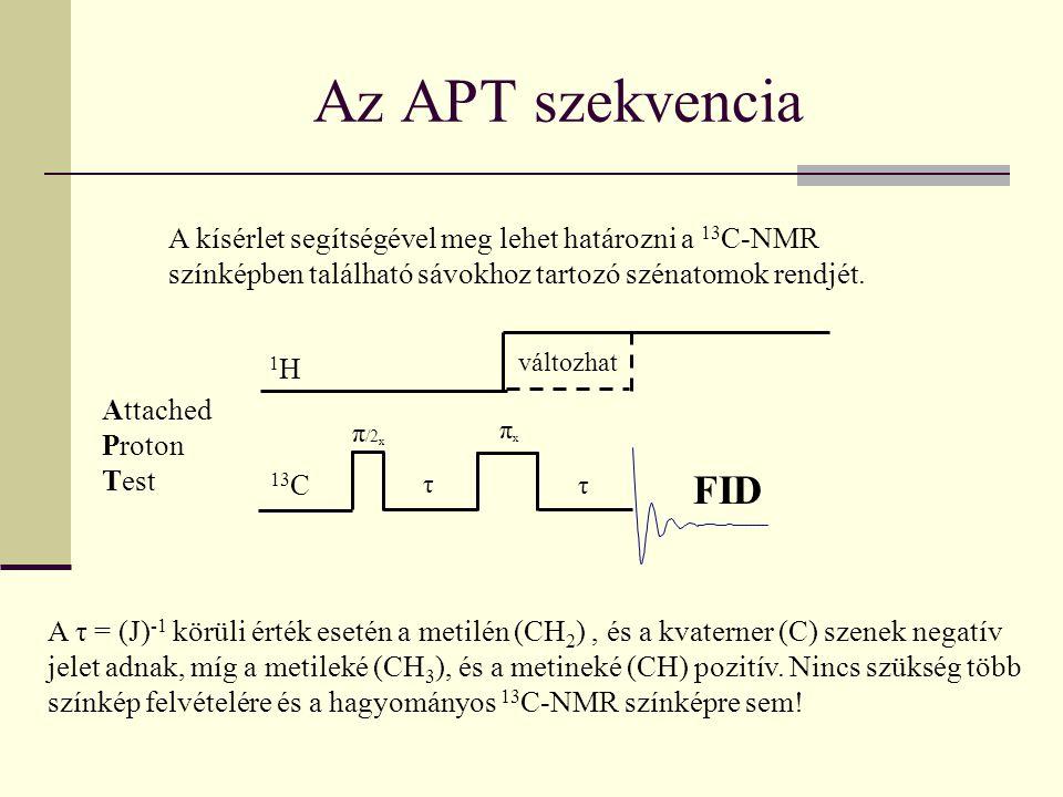 Az APT szekvencia Attached Proton Test A kísérlet segítségével meg lehet határozni a 13 C-NMR színképben található sávokhoz tartozó szénatomok rendjét