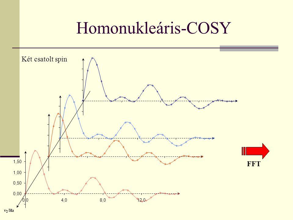 0,04,08,012,0 Homonukleáris-COSY Két csatolt spin 0,00 0,50 1,00 1,50 v 2 / Hz FFT