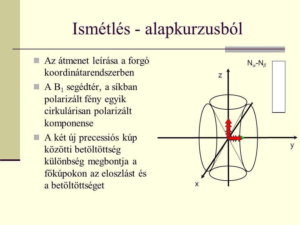 Ismétlés - alapkurzusból Az átmenet leírása a forgó koordinátarendszerben A B 1 segédtér, a síkban polarizált fény egyik cirkulárisan polarizált kompo