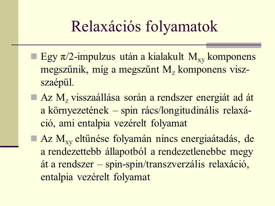 Relaxációs folyamatok Relaxáció egyπ/2 impulzus után 0,00 0,20 0,40 0,60 0,80 1,00 1,20 1,40 1,60 1,80 2,00 0,02,04,06,08,010,012,014,016,0 t/s M z 0,00 0,20 0,40 0,60 0,80 1,00 1,20 1,40 1,60 1,80 2,00 M xy Mz Mxy