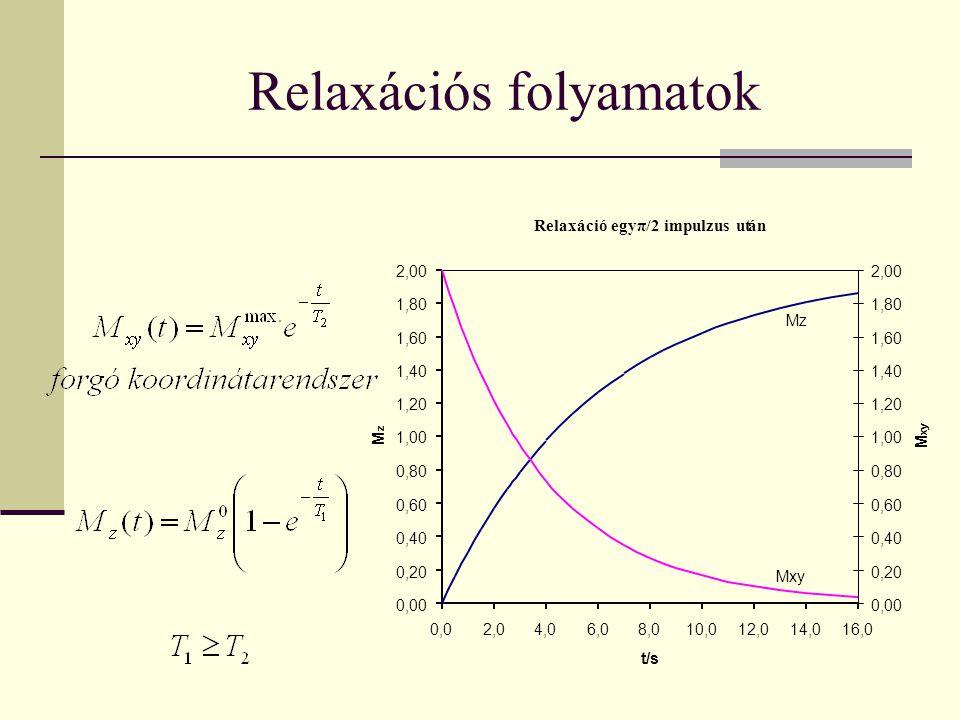 Relaxációs folyamatok Relaxáció egyπ/2 impulzus után 0,00 0,20 0,40 0,60 0,80 1,00 1,20 1,40 1,60 1,80 2,00 0,02,04,06,08,010,012,014,016,0 t/s M z 0,