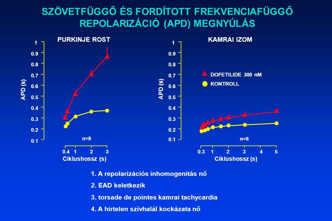 1. A repolarizációs inhomogenitás nő 2. EAD keletkezik 3. torsade de pointes kamrai tachycardia 4. A hirtelen szívhalál kockázata nő SZÖVETFÜGGŐ ÉS FO