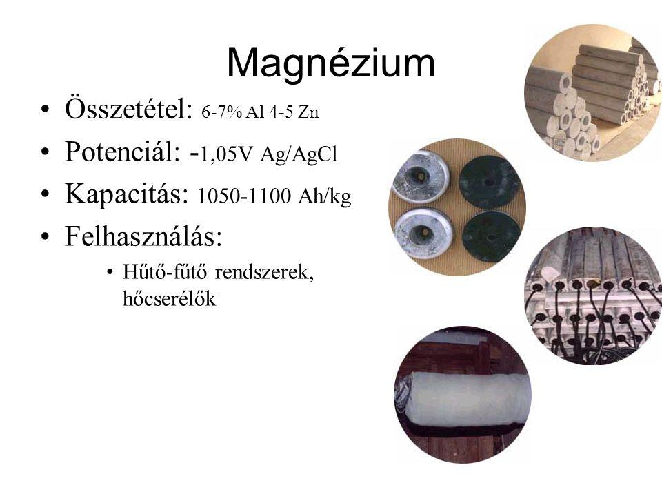 Magnézium Összetétel: 6-7% Al 4-5 Zn Potenciál: - 1,05V Ag/AgCl Kapacitás: 1050-1100 Ah/kg Felhasználás: Hűtő-fűtő rendszerek, hőcserélők