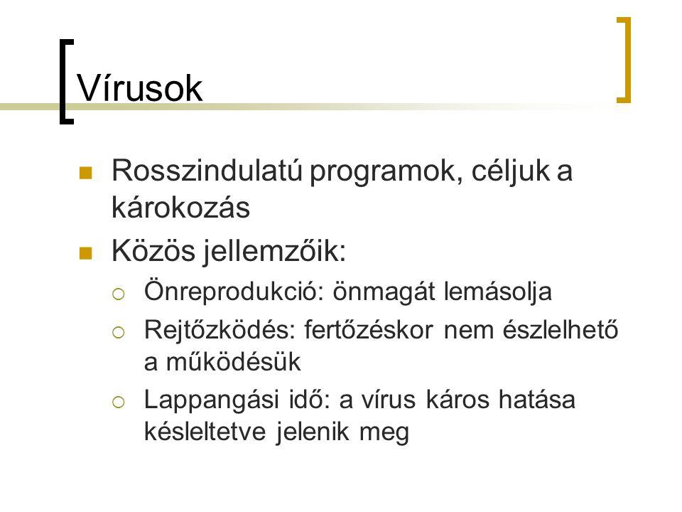 Vírusok Rosszindulatú programok, céljuk a károkozás Közös jellemzőik:  Önreprodukció: önmagát lemásolja  Rejtőzködés: fertőzéskor nem észlelhető a m