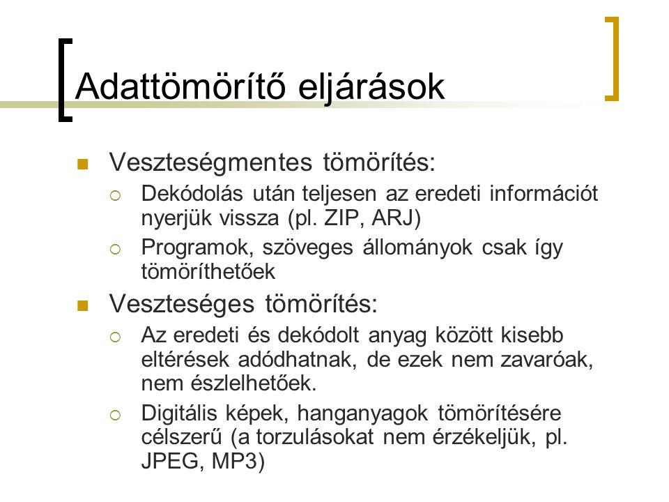 Adattömörítő eljárások Veszteségmentes tömörítés:  Dekódolás után teljesen az eredeti információt nyerjük vissza (pl. ZIP, ARJ)  Programok, szöveges