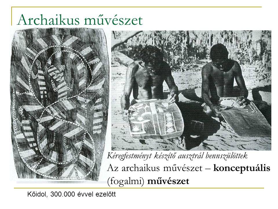 Az egyiptomi síkművészet: tudatos művészi program eredménye; a háromdimenzióra utaló ábrázolási megoldások kiszelektálása.