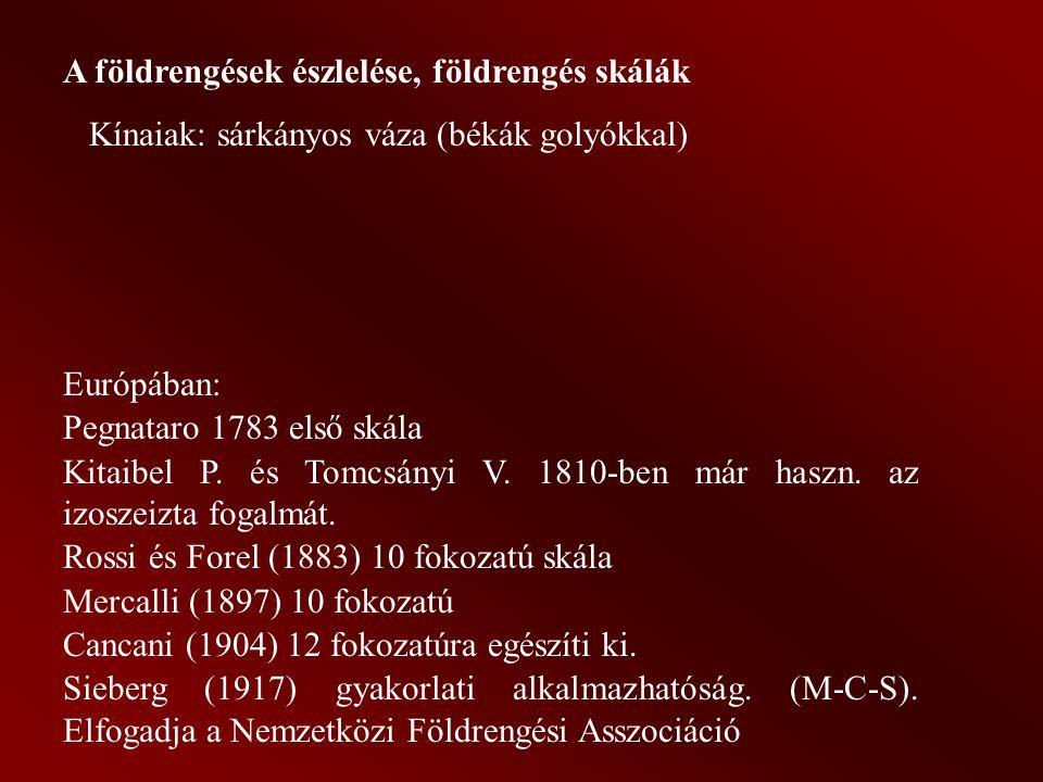 A földrengések észlelése, földrengés skálák Kínaiak: sárkányos váza (békák golyókkal) Európában: Pegnataro 1783 első skála Kitaibel P.