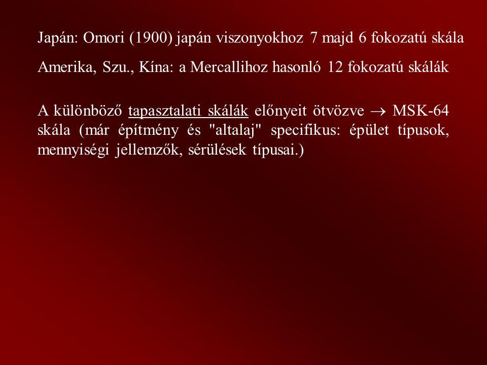 Japán: Omori (1900) japán viszonyokhoz 7 majd 6 fokozatú skála Amerika, Szu., Kína: a Mercallihoz hasonló 12 fokozatú skálák A különböző tapasztalati skálák előnyeit ötvözve  MSK-64 skála (már építmény és altalaj specifikus: épület típusok, mennyiségi jellemzők, sérülések típusai.)