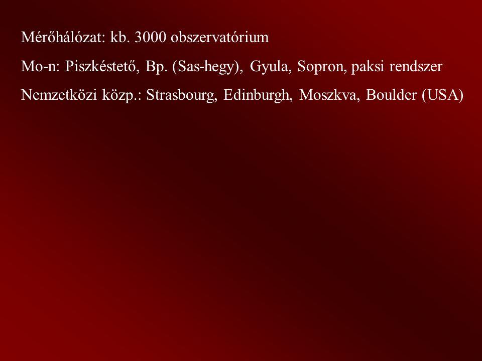 Mérőhálózat: kb.3000 obszervatórium Mo-n: Piszkéstető, Bp.