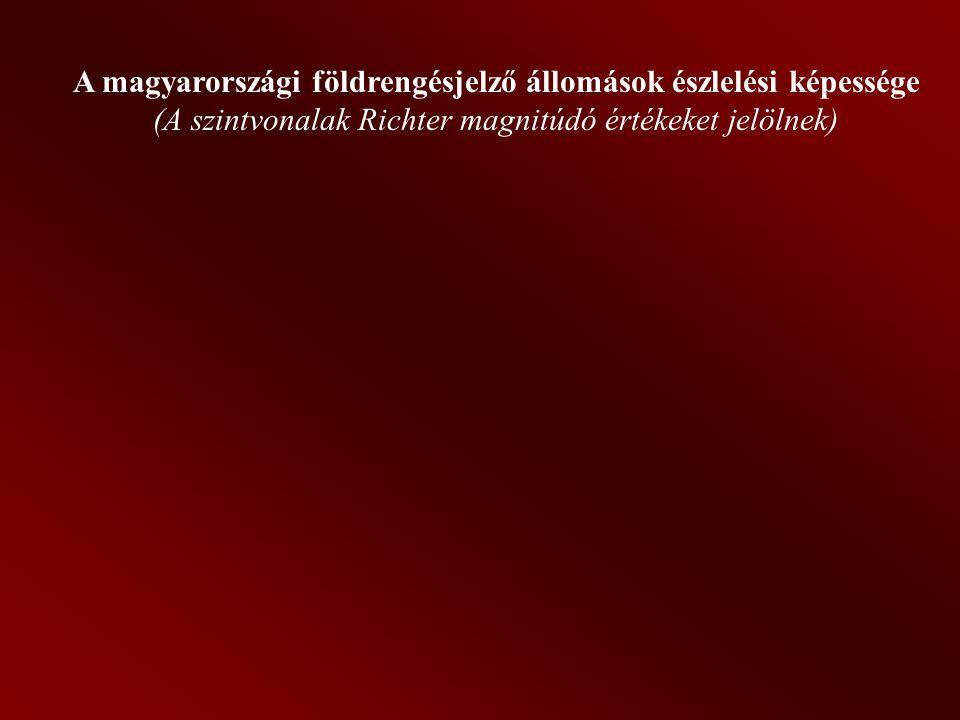 A magyarországi földrengésjelző állomások észlelési képessége (A szintvonalak Richter magnitúdó értékeket jelölnek)