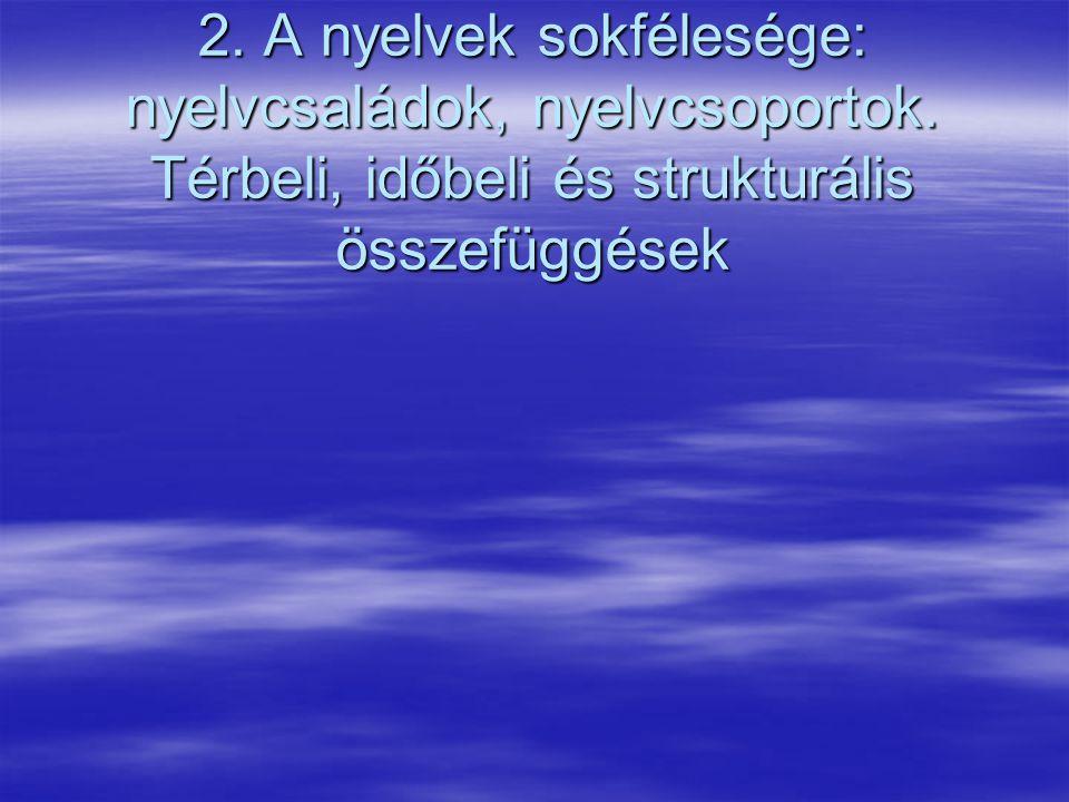 A magyar nyelv finnugor rokonsága 02-15-07 2.A nyelvek sokfélesége: nyelvcsaládok, nyelvcsoportok.
