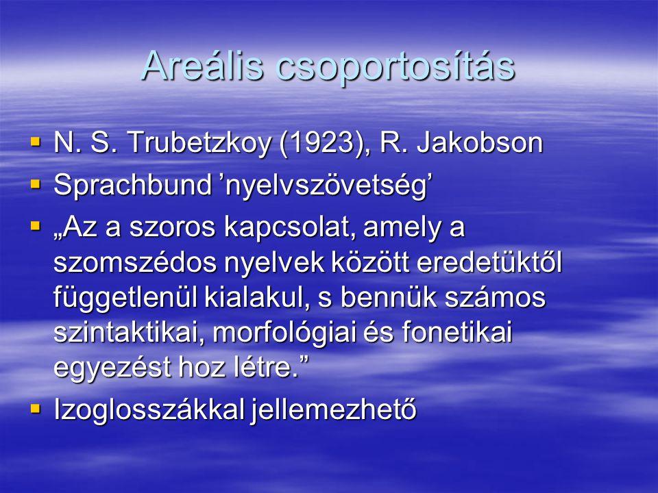 Areális csoportosítás  N.S. Trubetzkoy (1923), R.