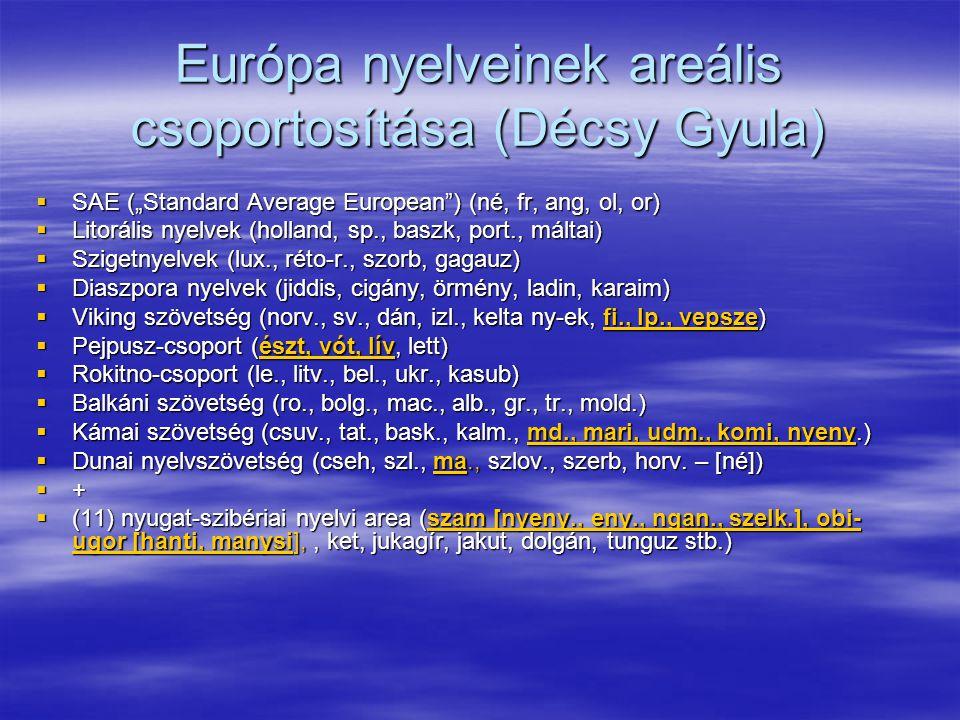 """Európa nyelveinek areális csoportosítása (Décsy Gyula)  SAE (""""Standard Average European ) (né, fr, ang, ol, or)  Litorális nyelvek (holland, sp., baszk, port., máltai)  Szigetnyelvek (lux., réto-r., szorb, gagauz)  Diaszpora nyelvek (jiddis, cigány, örmény, ladin, karaim)  Viking szövetség (norv., sv., dán, izl., kelta ny-ek, fi., lp., vepsze)  Pejpusz-csoport (észt, vót, lív, lett)  Rokitno-csoport (le., litv., bel., ukr., kasub)  Balkáni szövetség (ro., bolg., mac., alb., gr., tr., mold.)  Kámai szövetség (csuv., tat., bask., kalm., md., mari, udm., komi, nyeny.)  Dunai nyelvszövetség (cseh, szl., ma., szlov., szerb, horv."""