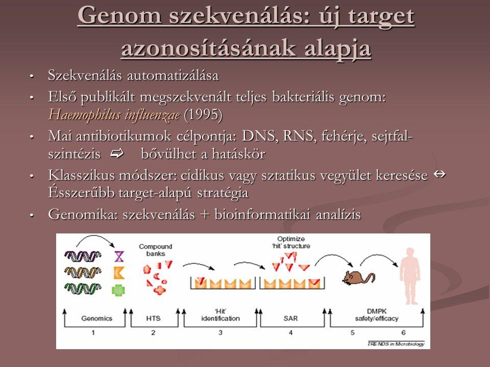 Genom szekvenálás: új target azonosításának alapja Szekvenálás automatizálása Szekvenálás automatizálása Első publikált megszekvenált teljes bakteriális genom: Haemophilus influenzae (1995) Első publikált megszekvenált teljes bakteriális genom: Haemophilus influenzae (1995) Mai antibiotikumok célpontja: DNS, RNS, fehérje, sejtfal- szintézis  bővülhet a hatáskör Mai antibiotikumok célpontja: DNS, RNS, fehérje, sejtfal- szintézis  bővülhet a hatáskör Klasszikus módszer: cidikus vagy sztatikus vegyület keresése Ésszerűbb target-alapú stratégia Klasszikus módszer: cidikus vagy sztatikus vegyület keresése Ésszerűbb target-alapú stratégia Genomika: szekvenálás + bioinformatikai analízis Genomika: szekvenálás + bioinformatikai analízis