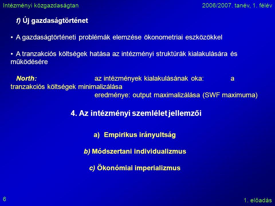 Intézményi közgazdaságtan2006/2007.tanév, 1. félév 1.