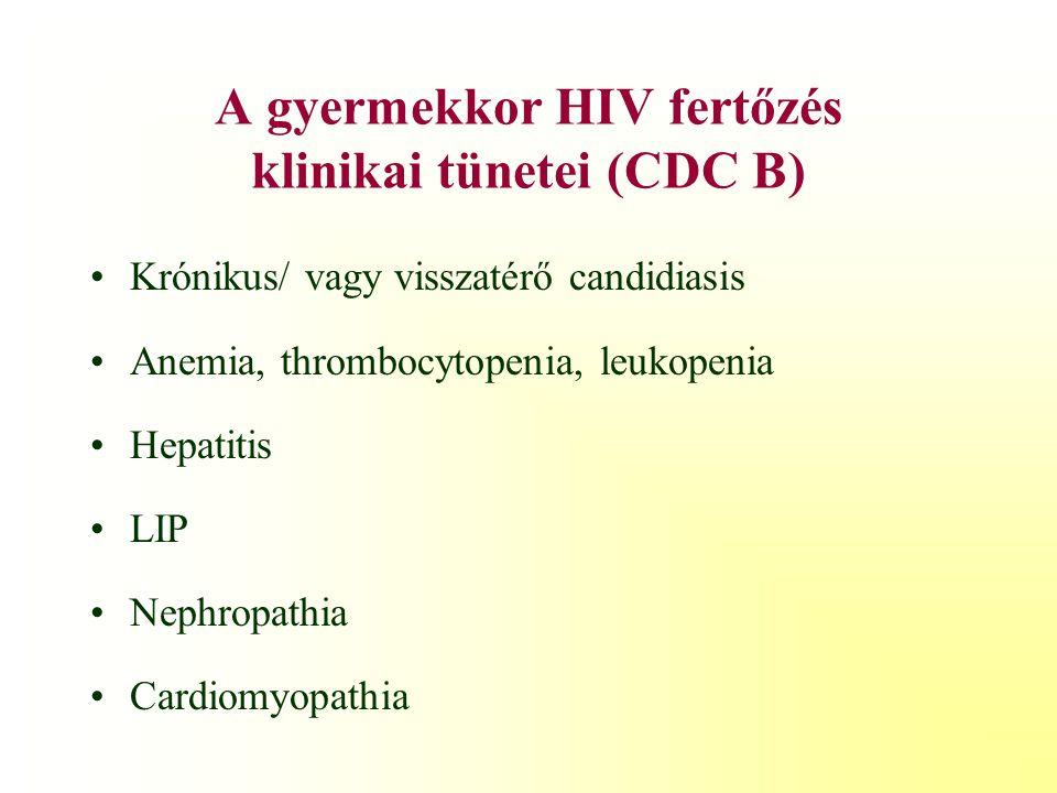 A gyermekkori HIV fertőzés klinikai tünetei (CDC A) Lymphadenopathia Hepatosplenomegalia Parotitis Recidiváló légúti fertőzések