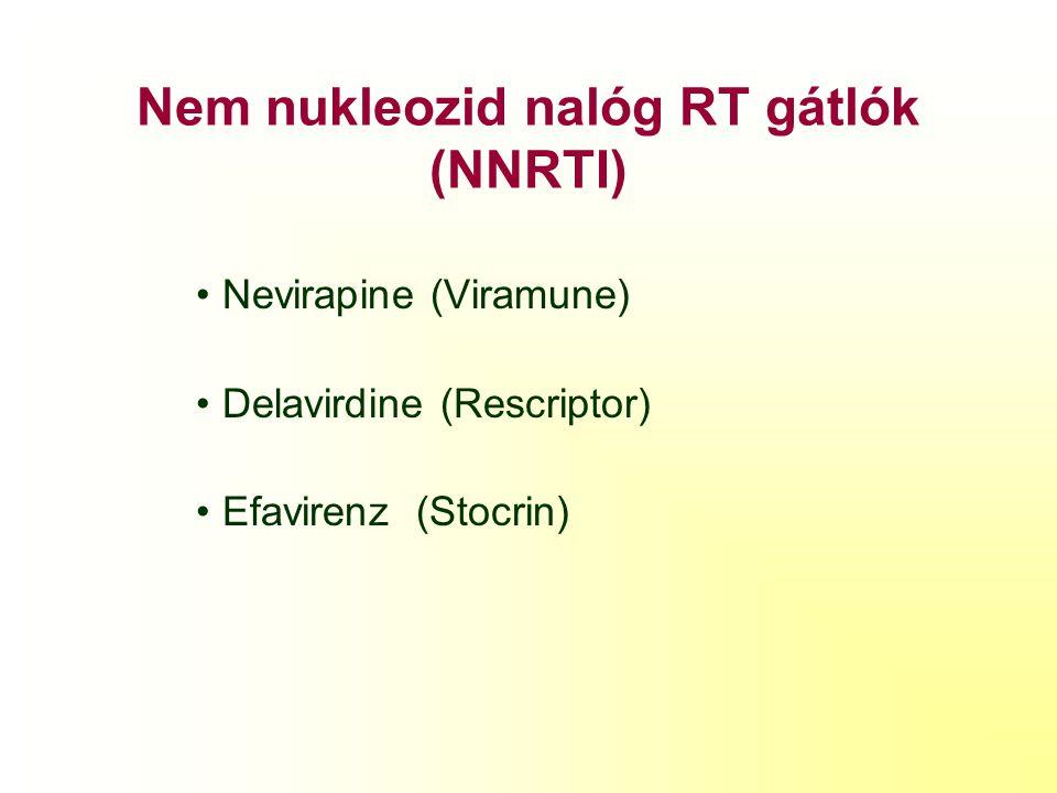 Nukleozid analóg RT gátlók (NRTI) Zidovudine (AZT, ZDV) Didanosine (ddl) Stavudine (d4T) Lamivudine (3TC) Abacavir