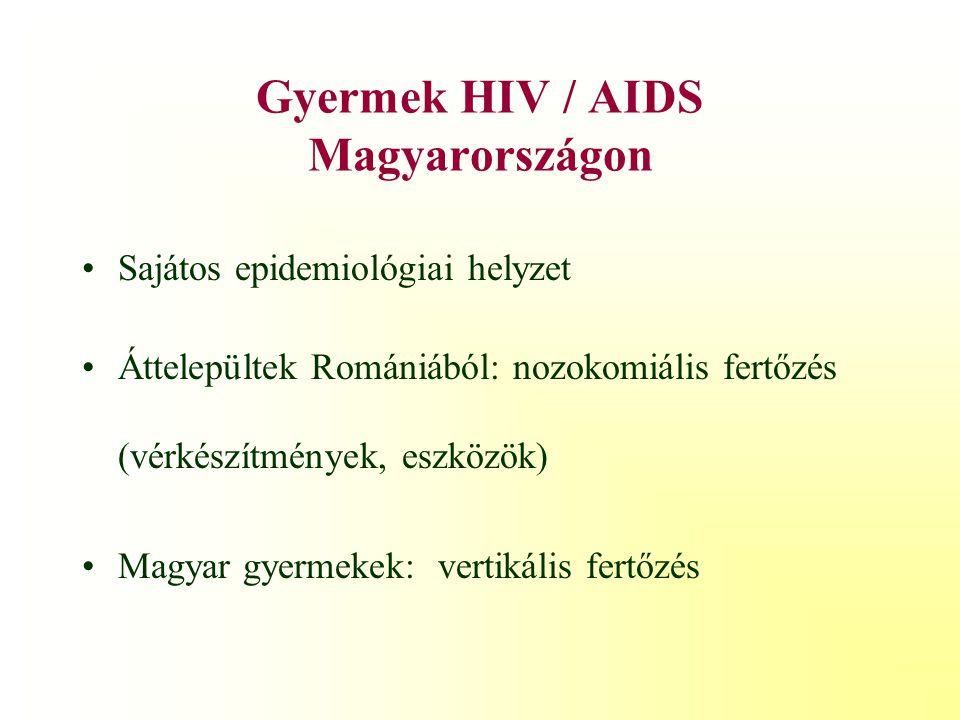 Gyermekkori HIV epidemiológiája perinatális fertőzés90 % i.