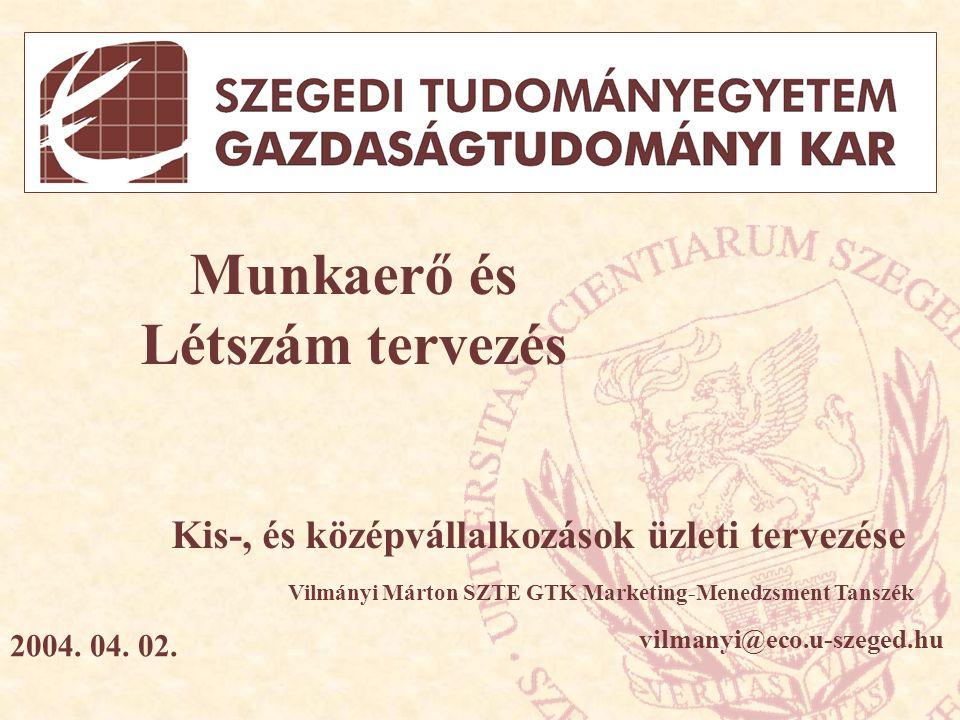 Témavázlat - Alapfogalmak tisztázása - A munkaerőszükséglet befolyásoló tényezői - Alapvető munkaerőtervezési módszerek - KKV-k által használatos munkaerőtervezési módszerek A szeminárium feldolgozásának alapjául szolgált: (1) Szirmai Péter: 10 Lecke az Üzleti Tervezésről, CO- NEX KFT, Budapest (2) Gyökér Irén: Emberi Erőforrás Menedzsment, BMGE, 2003.