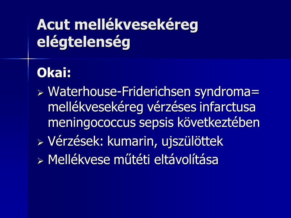 Acut mellékvesekéreg elégtelenség Okai:  Waterhouse-Friderichsen syndroma= mellékvesekéreg vérzéses infarctusa meningococcus sepsis következtében  V