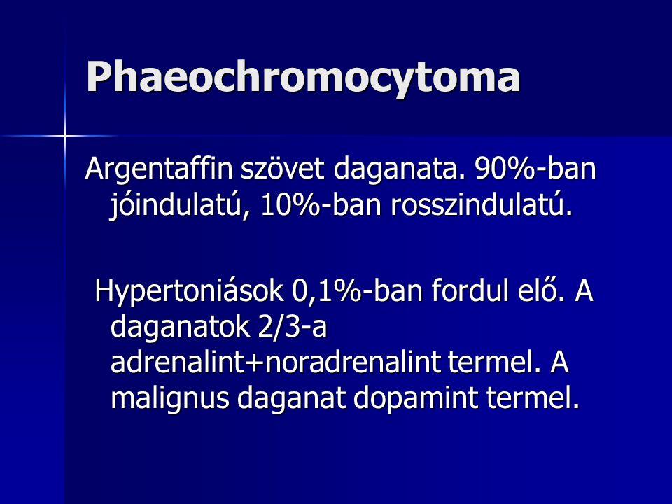 Phaeochromocytoma Argentaffin szövet daganata. 90%-ban jóindulatú, 10%-ban rosszindulatú. Hypertoniások 0,1%-ban fordul elő. A daganatok 2/3-a adrenal