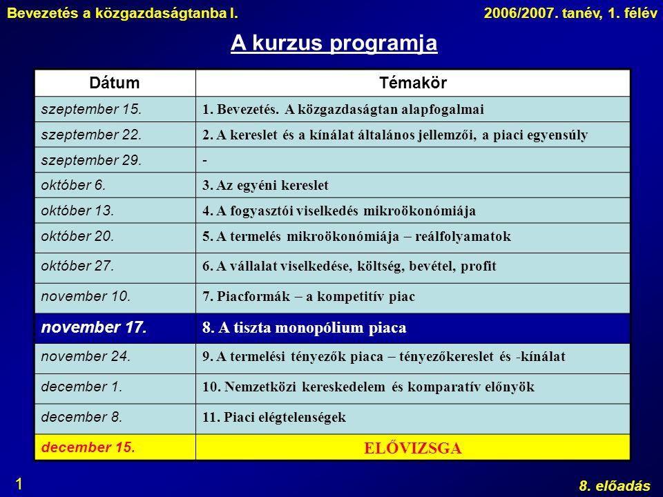 Bevezetés a közgazdaságtanba I.2006/2007. tanév, 1. félév 8. előadás 1 A kurzus programja DátumTémakör szeptember 15. 1. Bevezetés. A közgazdaságtan a