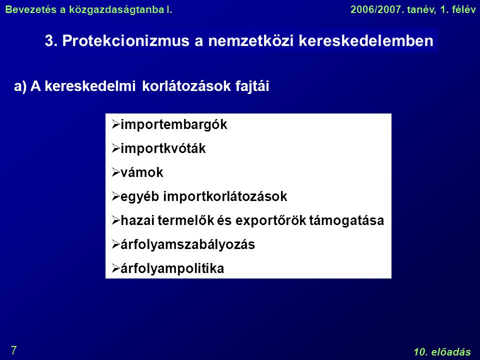 Bevezetés a közgazdaságtanba I.2006/2007. tanév, 1.