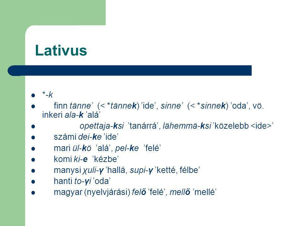 Lativus *-k finn tänne' (< *tännek) 'ide', sinne' (< *sinnek) 'oda', vö. inkeri ala-k 'alá' opettaja-ksi 'tanárrá', lähemmä-ksi 'közelebb ' számi dei-