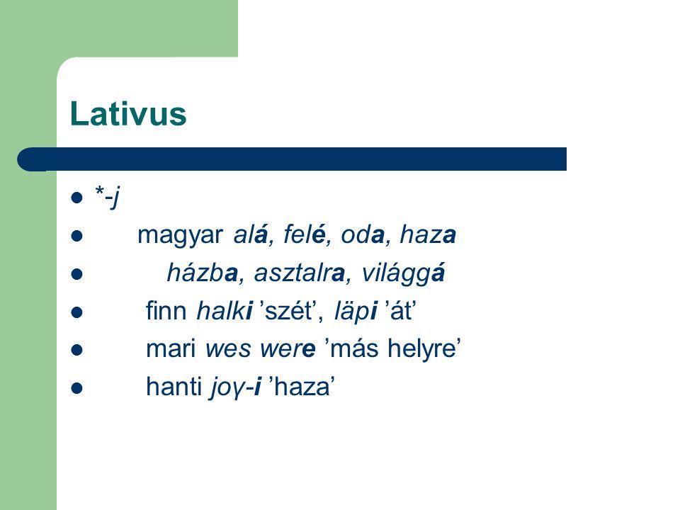 Lativus *-j magyar alá, felé, oda, haza házba, asztalra, világgá finn halki 'szét', läpi 'át' mari wes were 'más helyre' hanti joγ-i 'haza'