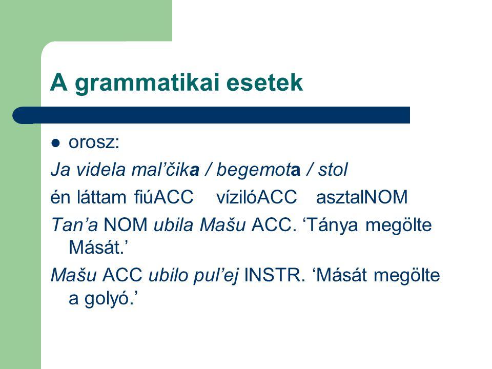 A grammatikai esetek orosz: Ja videla mal'čika / begemota / stol én láttam fiúACC vízilóACC asztalNOM Tan'a NOM ubila Mašu ACC. 'Tánya megölte Mását.'