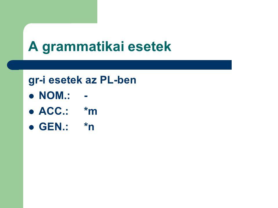 A grammatikai esetek gr-i esetek az PL-ben NOM.:- ACC.:*m GEN.:*n
