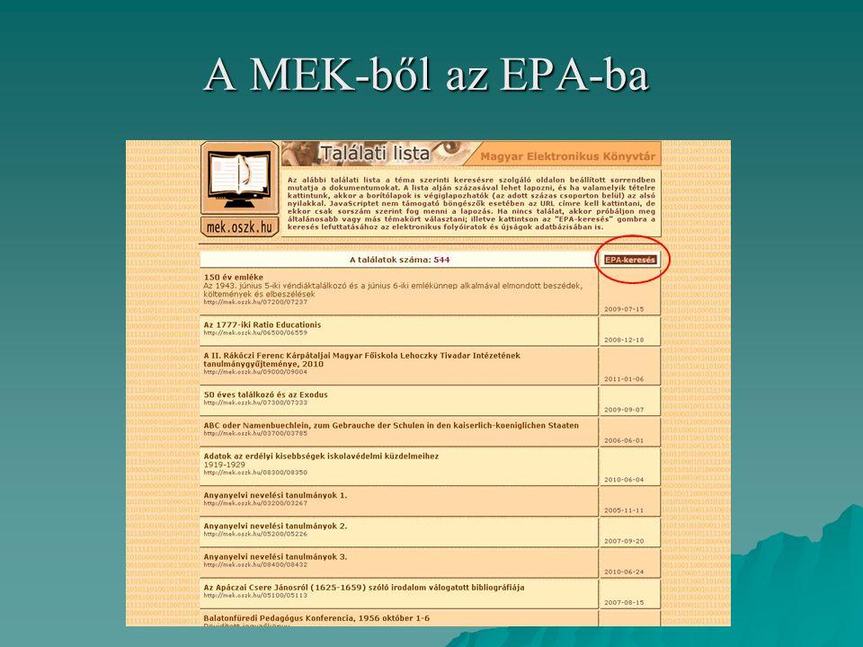A MEK-ből az EPA-ba