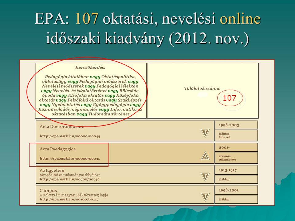 EPA: 107 oktatási, nevelési online időszaki kiadvány (2012. nov.) 107