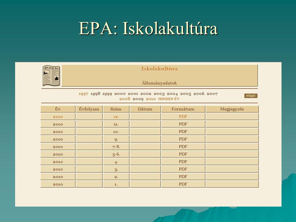 EPA: Iskolakultúra