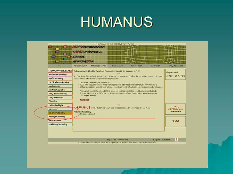 HUMANUS találatok: neveléstudomány