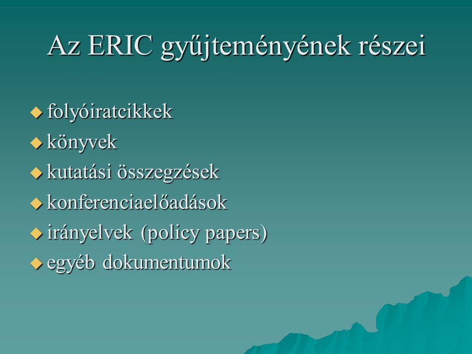 Az ERIC gyűjteményének részei  folyóiratcikkek  könyvek  kutatási összegzések  konferenciaelőadások  irányelvek (policy papers)  egyéb dokumentu