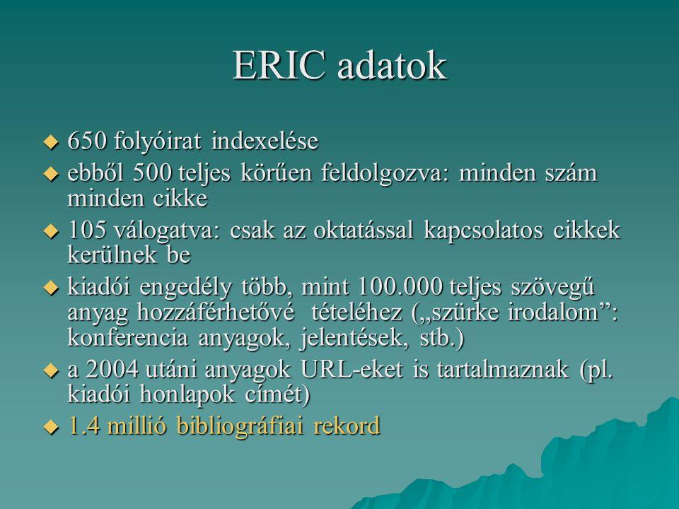 ERIC adatok  650 folyóirat indexelése  ebből 500 teljes körűen feldolgozva: minden szám minden cikke  105 válogatva: csak az oktatással kapcsolatos