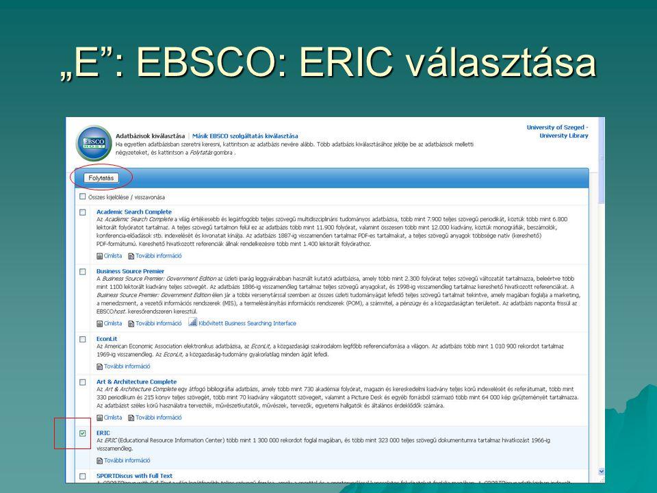 """""""E"""": EBSCO: ERIC választása"""
