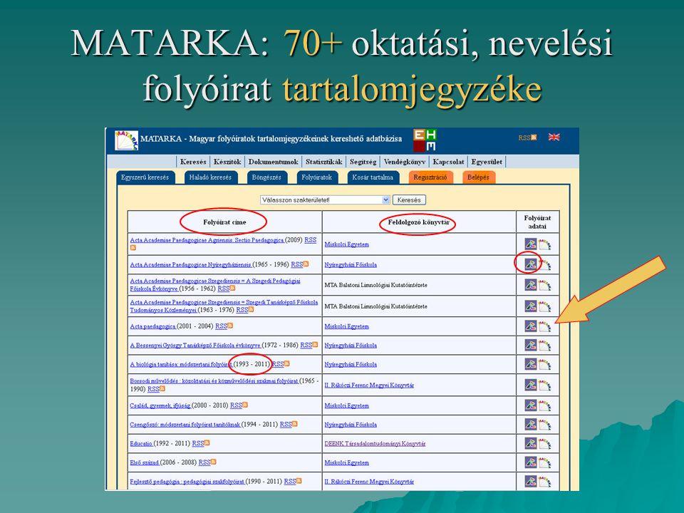 MATARKA: 70+ oktatási, nevelési folyóirat tartalomjegyzéke