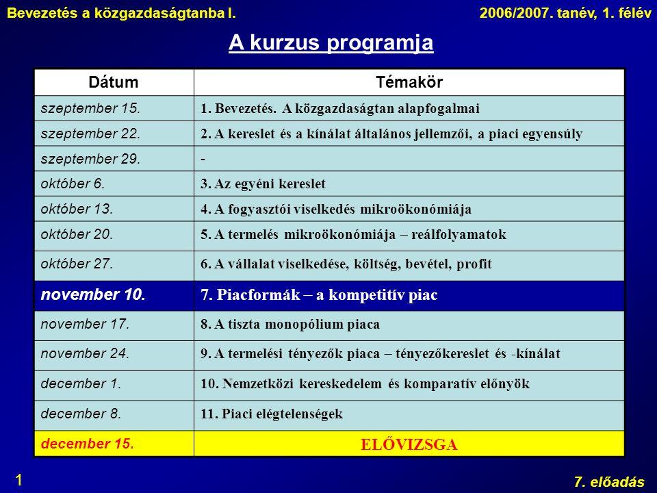 Bevezetés a közgazdaságtanba I.2006/2007. tanév, 1. félév 7. előadás 1 A kurzus programja DátumTémakör szeptember 15. 1. Bevezetés. A közgazdaságtan a