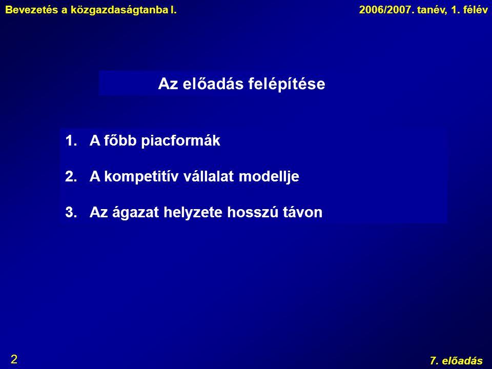 Bevezetés a közgazdaságtanba I.2006/2007. tanév, 1. félév 7. előadás 2 Az előadás felépítése 1.A főbb piacformák 2.A kompetitív vállalat modellje 3.Az