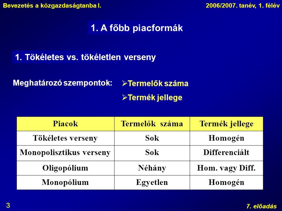Bevezetés a közgazdaságtanba I.2006/2007. tanév, 1. félév 7. előadás 3 1. A főbb piacformák 1. Tökéletes vs. tökéletlen verseny Meghatározó szempontok