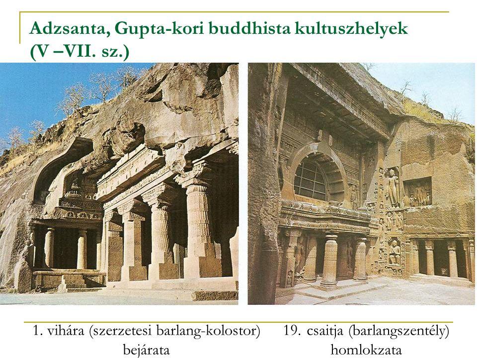 Adzsanta, Gupta-kori buddhista kultuszhelyek (V –VII. sz.) 1. vihára (szerzetesi barlang-kolostor) bejárata 19.csaitja (barlangszentély) homlokzata