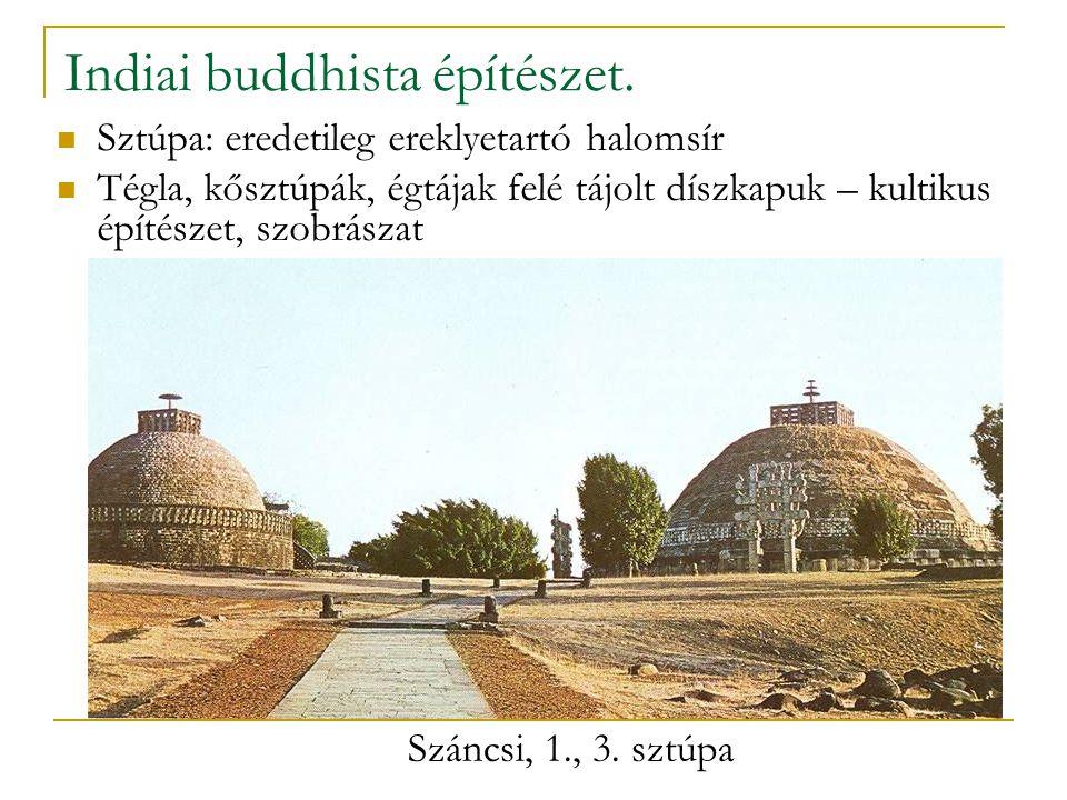 Indiai buddhista építészet. Sztúpa: eredetileg ereklyetartó halomsír Tégla, kősztúpák, égtájak felé tájolt díszkapuk – kultikus építészet, szobrászat