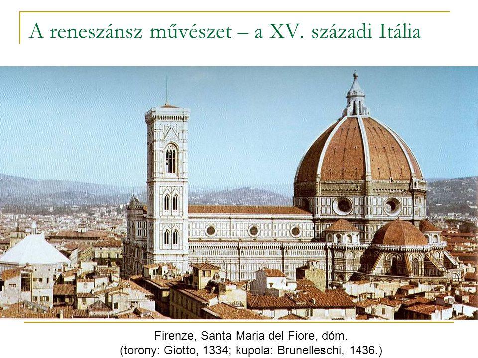 A reneszánsz művészet – a XV. századi Itália Firenze, Santa Maria del Fiore, dóm. (torony: Giotto, 1334; kupola: Brunelleschi, 1436.)
