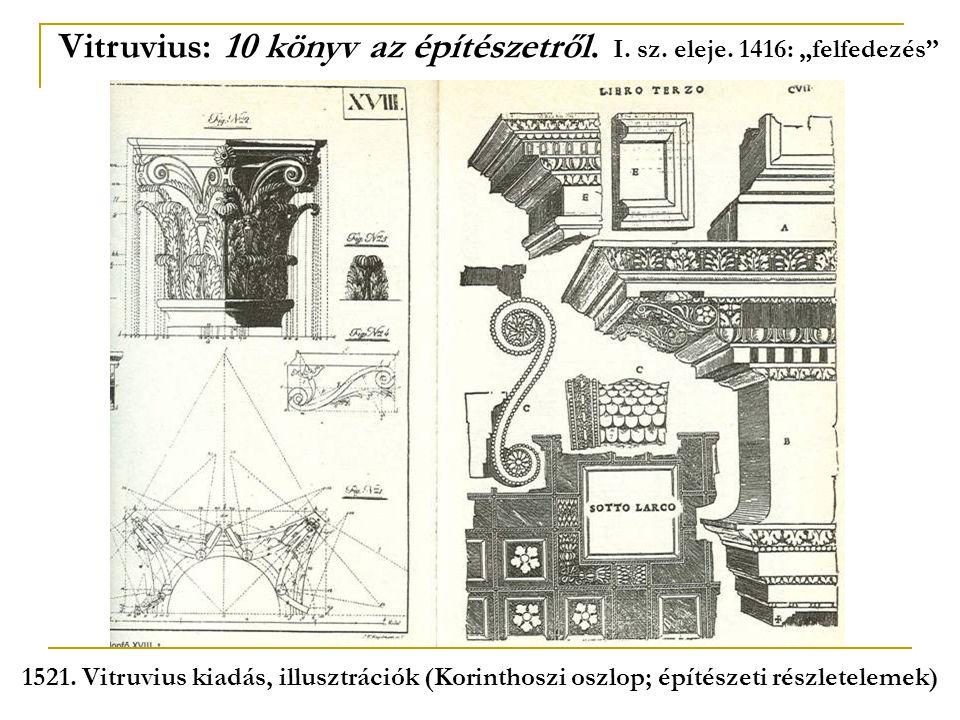 """Vitruvius: 10 könyv az építészetről. I. sz. eleje. 1416: """"felfedezés"""" 1521. Vitruvius kiadás, illusztrációk (Korinthoszi oszlop; építészeti részletele"""